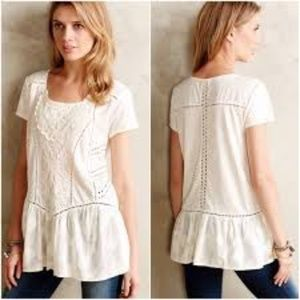 Anthropologie Meadow Rue Cream Lace top
